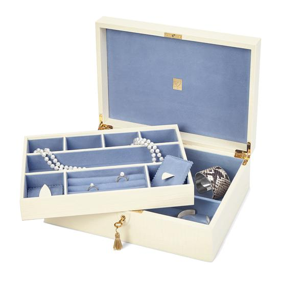 Grand Luxe Jewellery Box in Deep Shine Ivory Croc from Aspinal of London