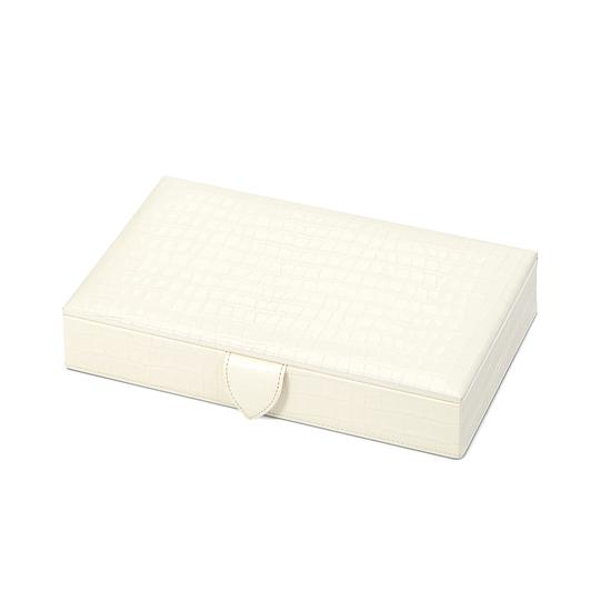 Paris Jewellery Box in Deep Shine Ivory Small Croc from Aspinal of London