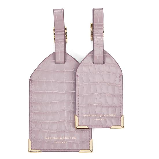Set of 2 Luggage Tags in Deep Shine Lilac Small Croc from Aspinal of London