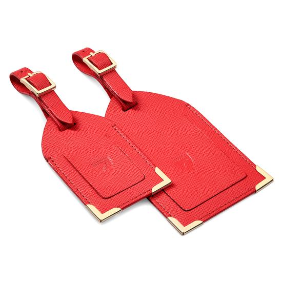 Set of 2 Luggage Tags in Dahlia Saffiano from Aspinal of London
