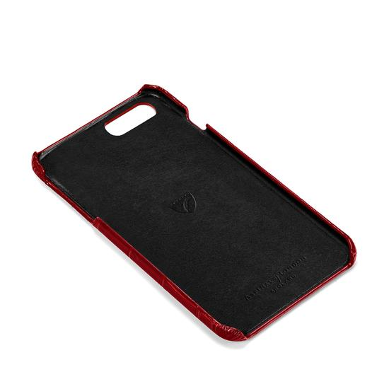 iPhone 7/8 Leather Cover in Deep Shine Red Croc from Aspinal of London