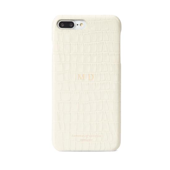 iPhone 7 Plus Leather Cover in Deep Shine Ivory Croc from Aspinal of London
