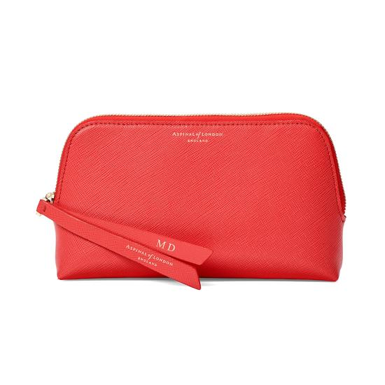 Small Essential Cosmetic Case in Dahlia Saffiano from Aspinal of London