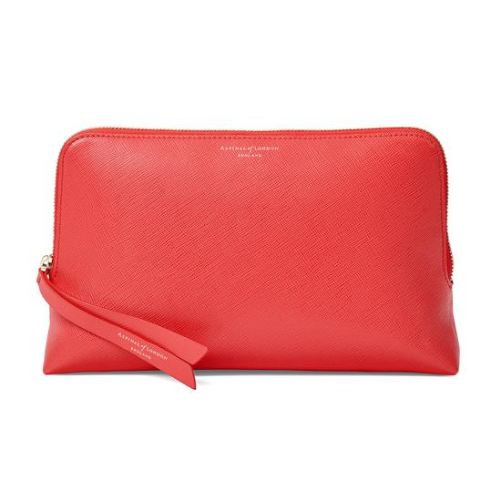 Large Essential Cosmetic Case in Dahlia Saffiano from Aspinal of London