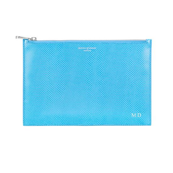 Large Essential Flat Pouch in Aquamarine Lizard from Aspinal of London