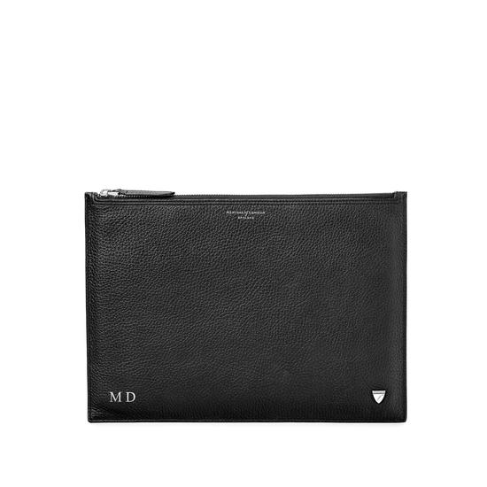 Mount Street Flat Pouch in Black Pebble from Aspinal of London