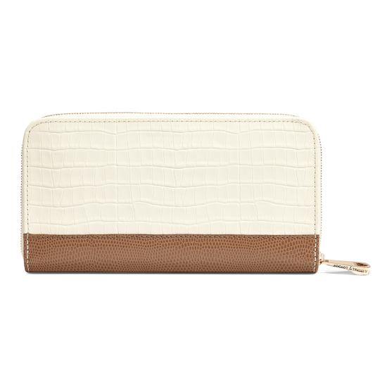 Continental Clutch Zip Wallet in Deep Shine Ivory Small Croc & Camel Lizard from Aspinal of London