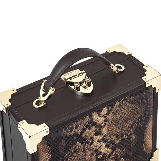 Mini Trunk Clutch in Smooth Dark Brown & Tan Snake Print from Aspinal of London