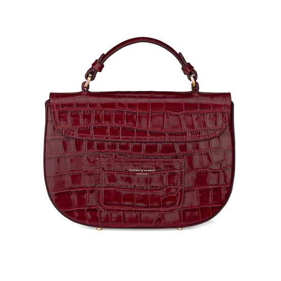 Letterbox Saddle Bag in Deep Shine Bordeaux Croc from Aspinal of London