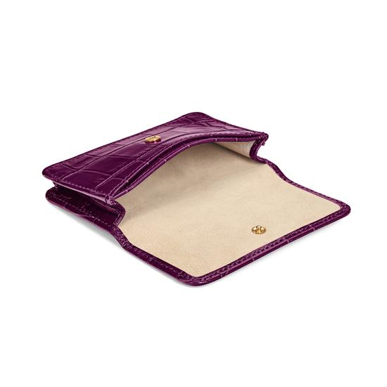 Business Card Case in Purple Croc & Cream Suede from Aspinal of London
