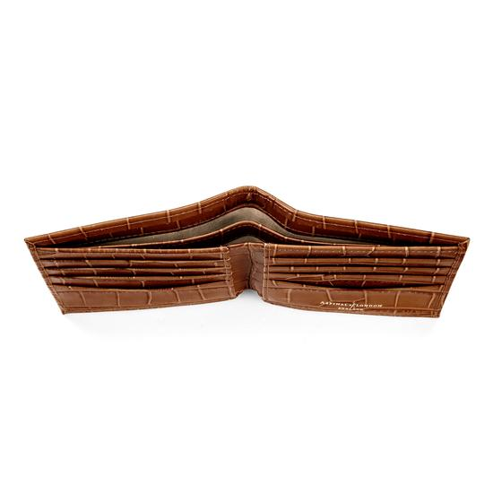 Billfold Wallet in Deep Shine Vintage Tan Croc from Aspinal of London