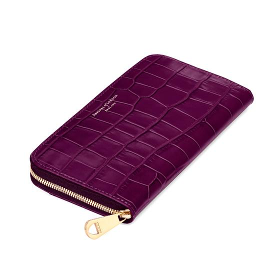 Continental Clutch Zip Wallet in Purple Croc & Cream Suede from Aspinal of London