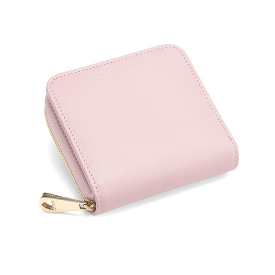 Mini Continental Zipped Coin Purse in Smooth Rose Dust from Aspinal of London