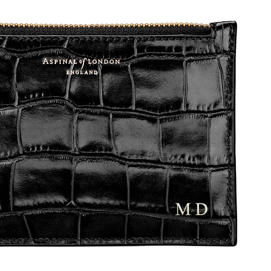 Small Essential Flat Pouch in Deep Shine Navy Croc from Aspinal of London