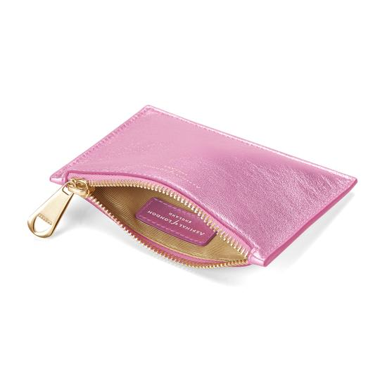 Small Essential Flat Pouch in Flamingo Metallic from Aspinal of London