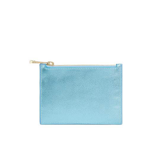 Small Essential Flat Pouch in Misty Blue Metallic from Aspinal of London