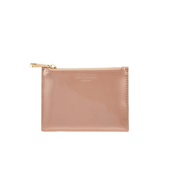 Small Essential Flat Pouch in Rose Gold Patent from Aspinal of London