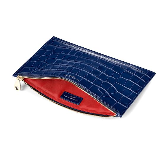 Large Essential Flat Pouch in Deep Shine Navy Croc from Aspinal of London
