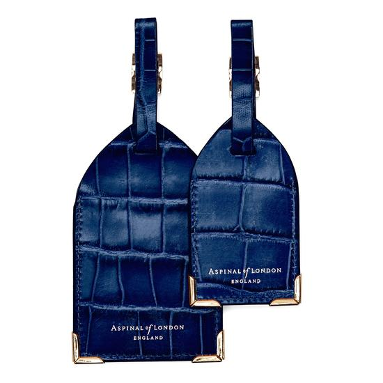 Set of 2 Luggage Tags in Navy Croc from Aspinal of London