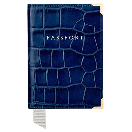 Passport Cover in Navy Croc from Aspinal of London