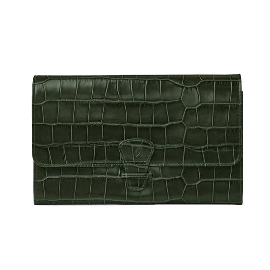Classic Travel Wallet in Forest Green Croc from Aspinal of London