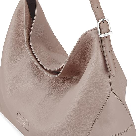 Aspinal Hobo Bag in Soft Taupe Pebble from Aspinal of London