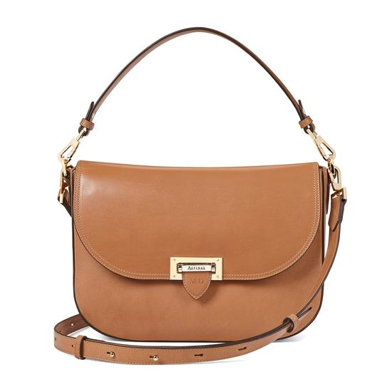 Slouchy Saddle Bag in Smooth Natural Tan from Aspinal of London