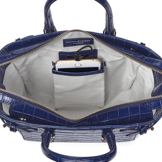 Mini Marylebone Tote in Deep Shine Navy Croc from Aspinal of London