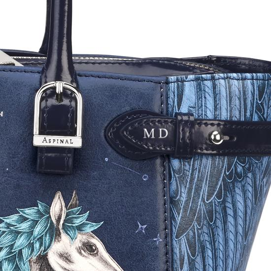 Mini Marylebone Tote in Pegasus Print & Blue Moon Polish from Aspinal of London