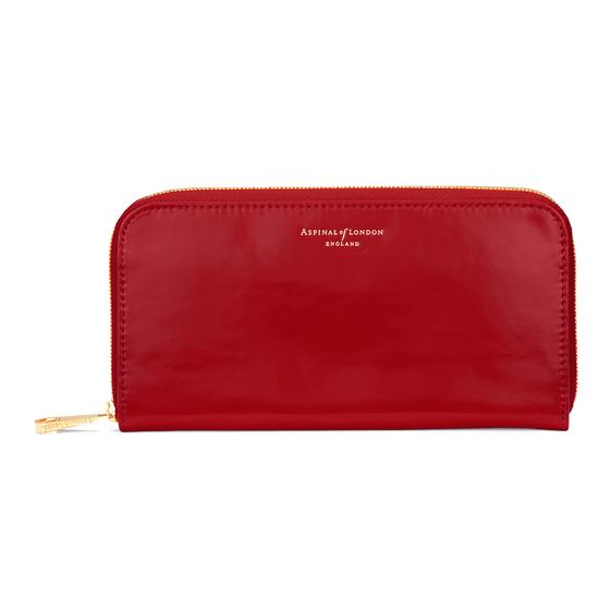 Continental Clutch Zip Wallet in Red Patent from Aspinal of London