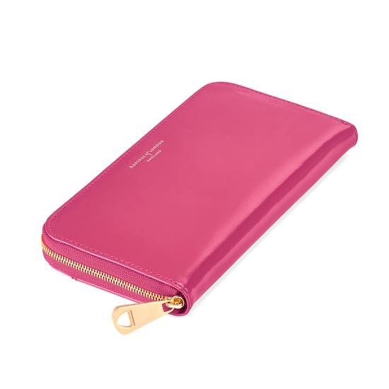 Continental Clutch Zip Wallet in Camelia Pink Polish from Aspinal of London