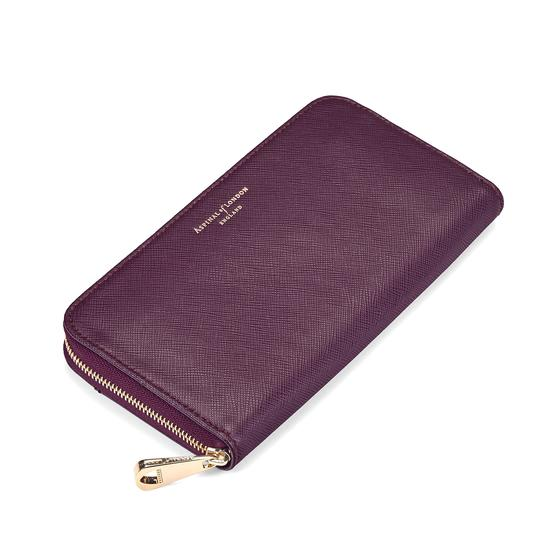 Continental Clutch Zip Wallet in Grape Saffiano from Aspinal of London