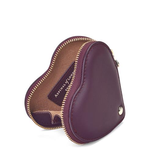 Heart Coin Purse in Grape Saffiano from Aspinal of London