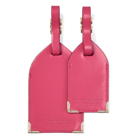 Set of 2 Luggage Tags in Camelia Pink Polish from Aspinal of London
