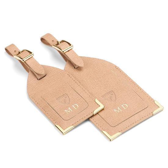 Set of 2 Luggage Tags in Gunmetal Saffiano from Aspinal of London