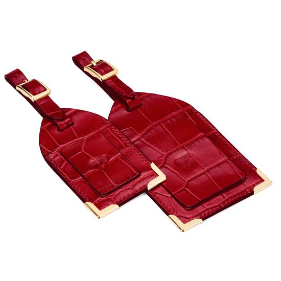 Set of 2 Luggage Tags in Deep Shine Red Croc from Aspinal of London
