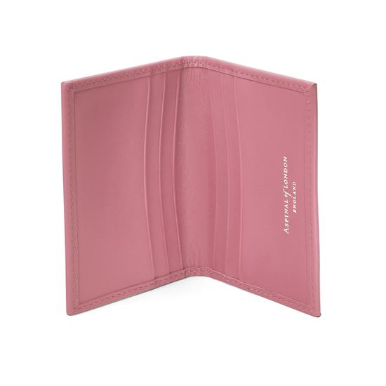 Double Fold Credit Card Case in Smooth Dusky Pink from Aspinal of London
