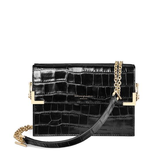 Chelsea Bag in Deep Shine Black Croc from Aspinal of London