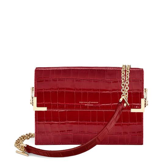 Chelsea Bag in Deep Shine Red Croc from Aspinal of London