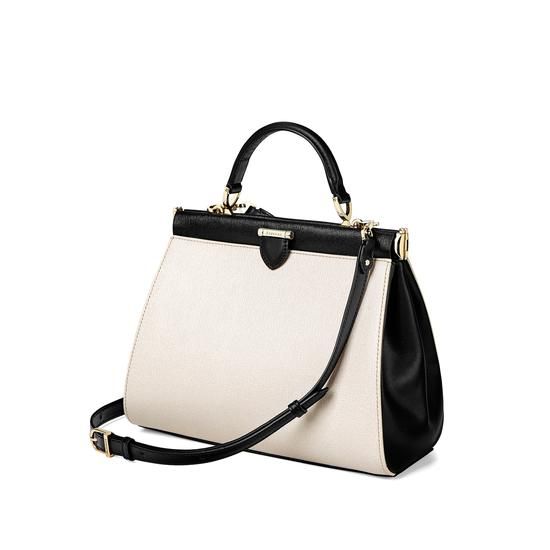 Small Florence Frame Bag in Monochrome Saffiano from Aspinal of London