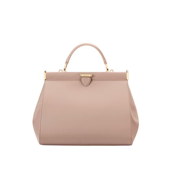 Small Florence Frame Bag in Smooth Soft Taupe from Aspinal of London