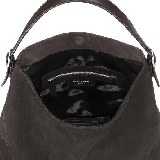 Aspinal Hobo Bag in Smokey Grey Nubuck from Aspinal of London