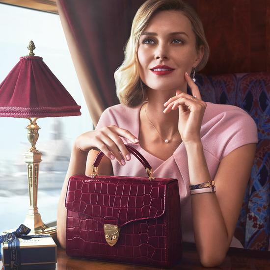 Mayfair Bag in Deep Shine Bordeaux Croc from Aspinal of London