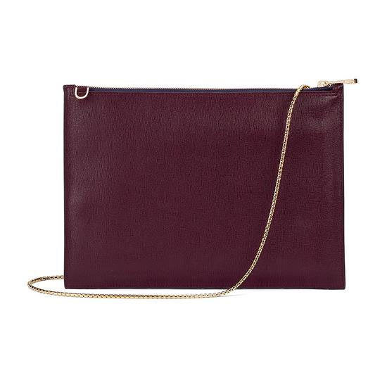 Soho Double Sided Clutch in Navy & Burgundy Saffiano from Aspinal of London