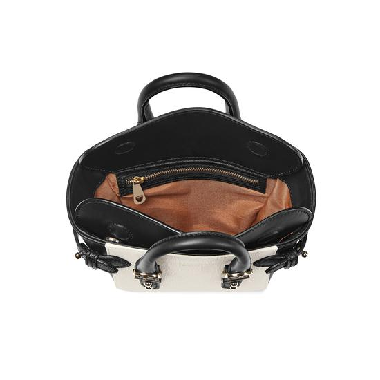 Micro Marylebone Tote in Monochrome Saffiano from Aspinal of London