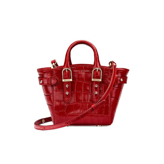 Micro Marylebone Tote in Deep Shine Red Croc from Aspinal of London