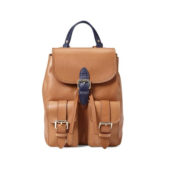 Small Oxford Backpack in Smooth Natural Tan & Navy from Aspinal of London