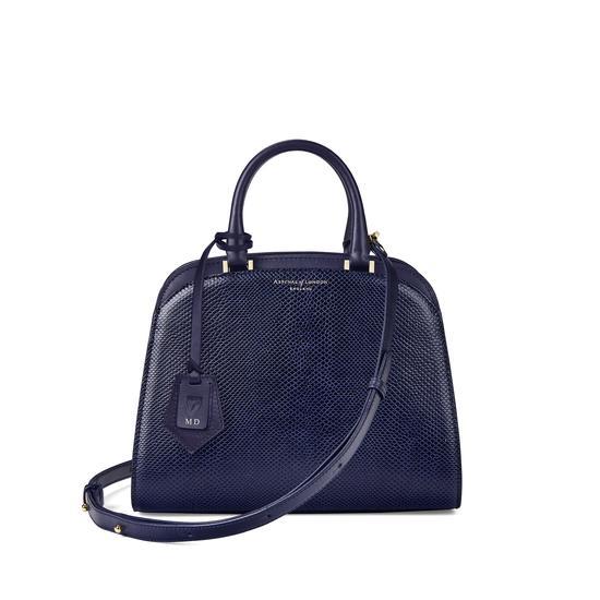 Mini Hepburn Bag in Midnight Blue Lizard from Aspinal of London