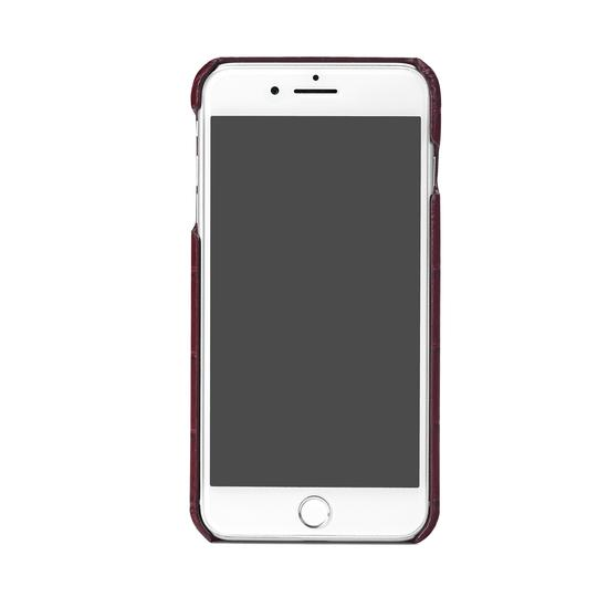 iPhone 7 Plus Leather Cover in Deep Shine Bordeaux Croc from Aspinal of London