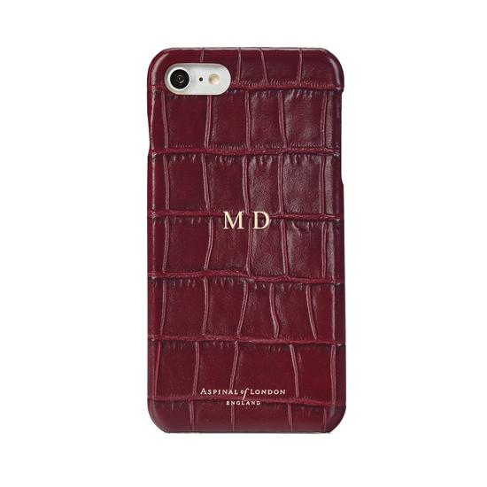 iPhone 7/8 Leather Cover in Bordeaux Croc from Aspinal of London